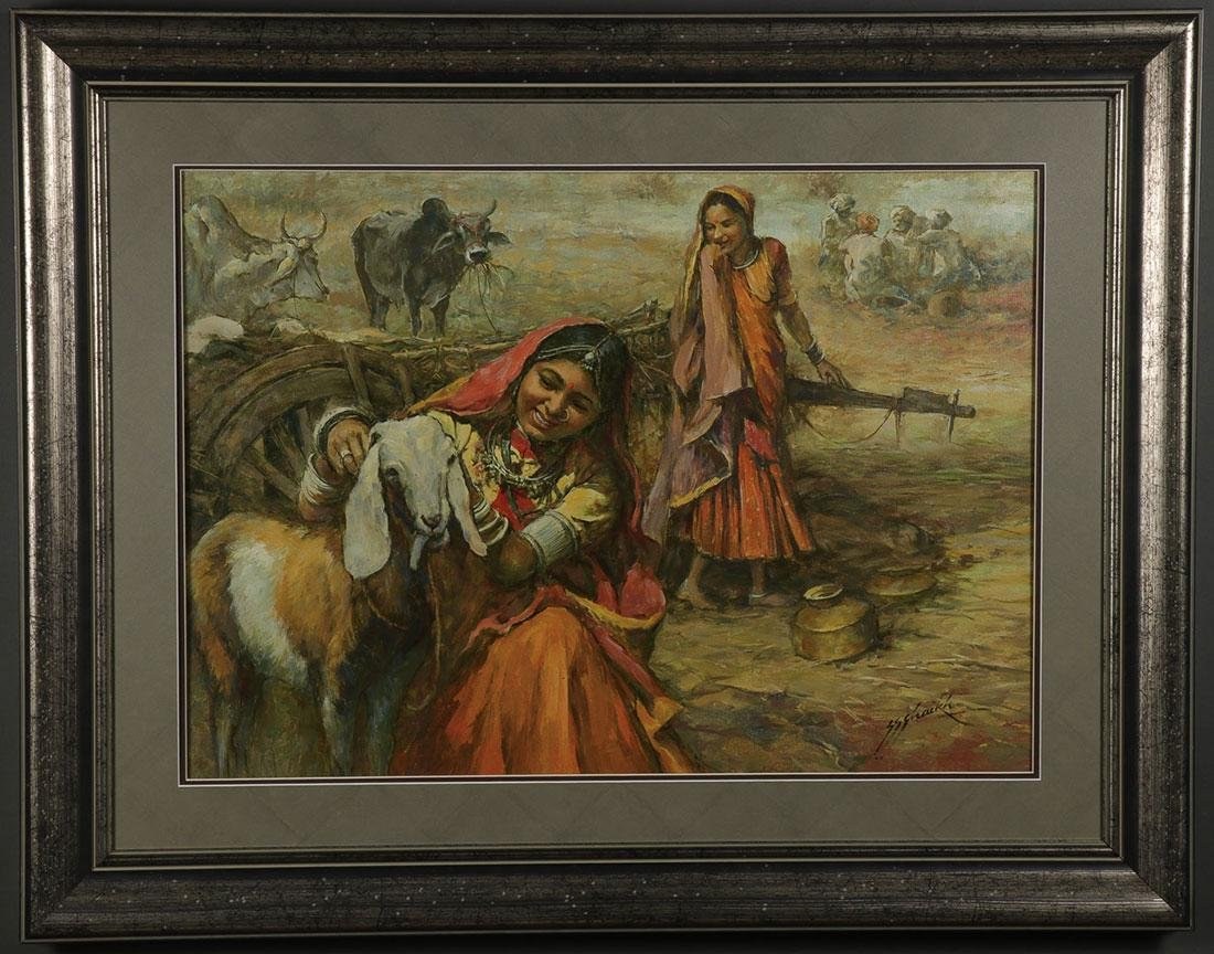 A PAIR OF INDIAN OIL PAINTINGS ARTIST SIGNED - 4