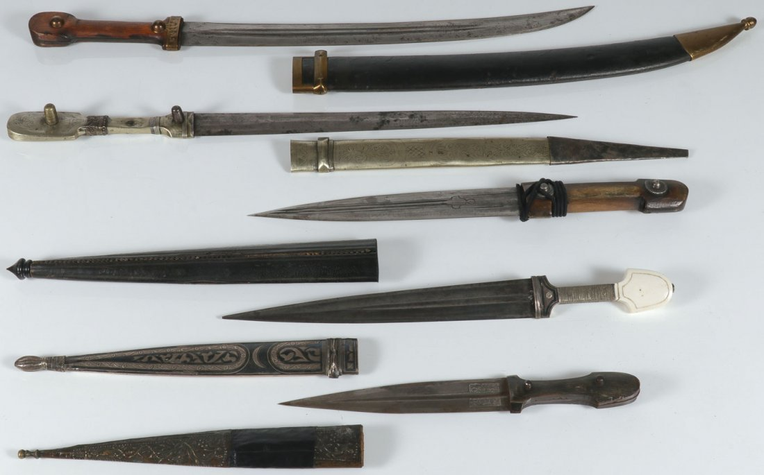 FIVE RUSSIAN/CAUCASIAN EDGED WEAPONS.
