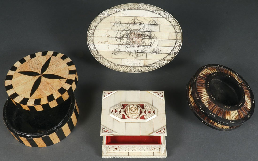 A GROUP OF FOUR BOXES 19TH/20TH CENTURY