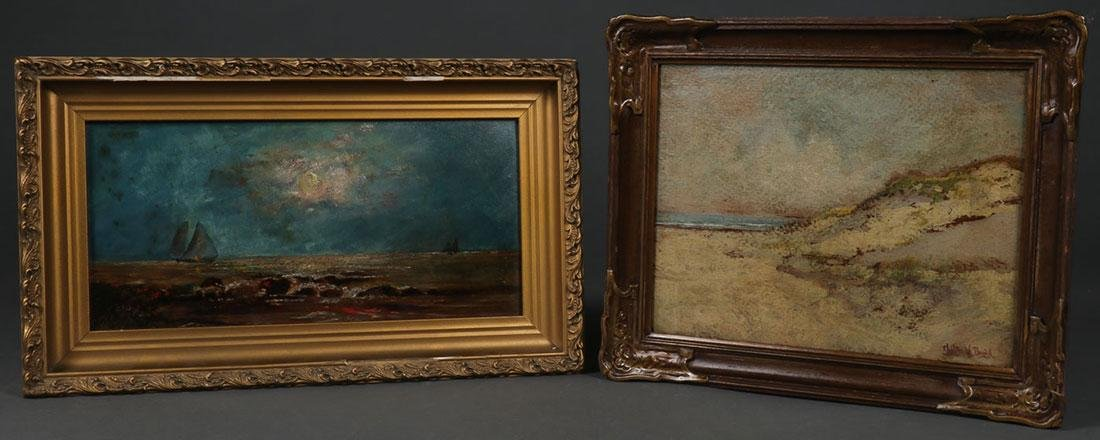 A PAIR OF AMERICAN SEASCAPE PAINTINGS, CIRCA 1900