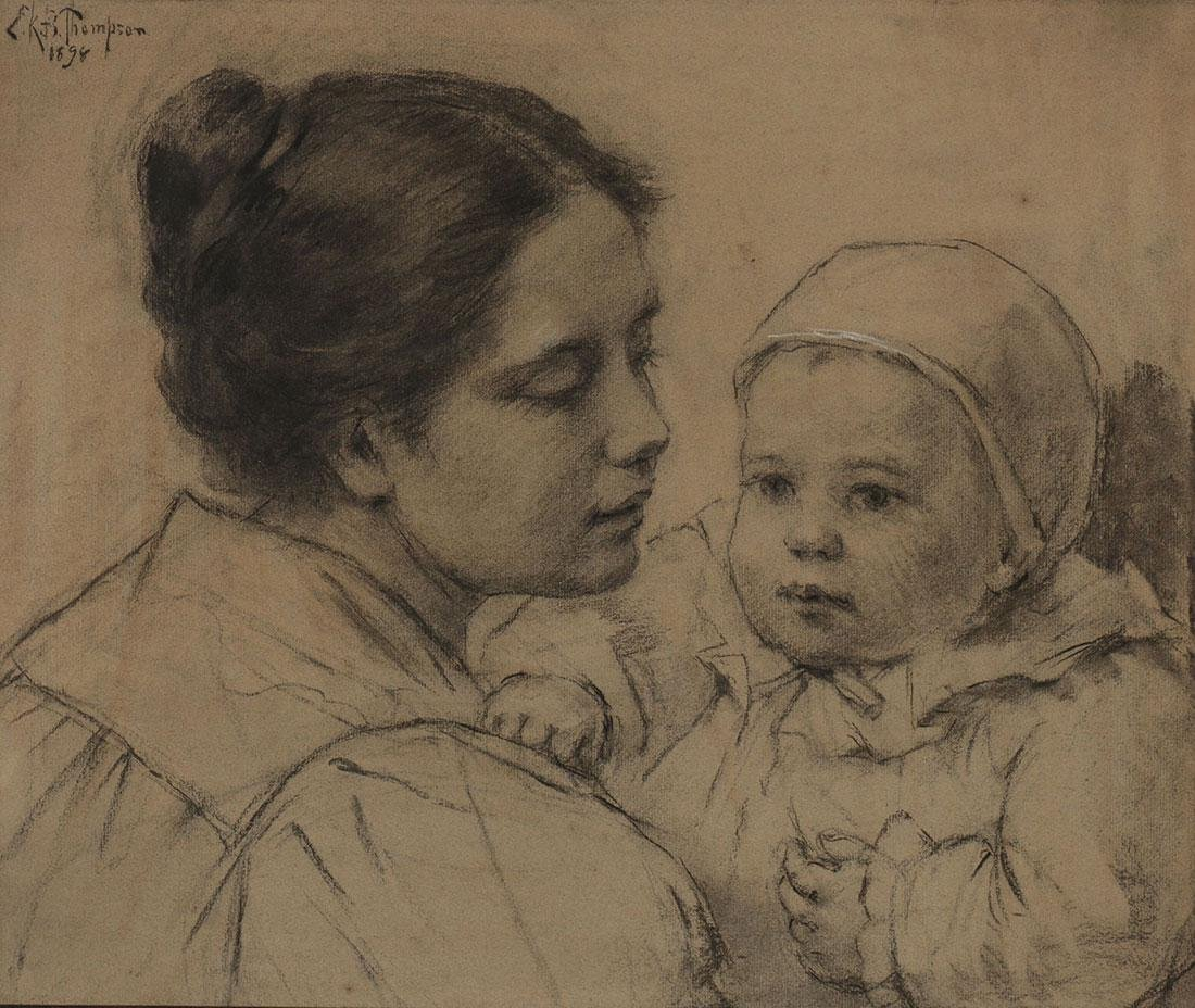 CHARCOAL SKETCH OF MOTHER AND CHILD, SIGNED