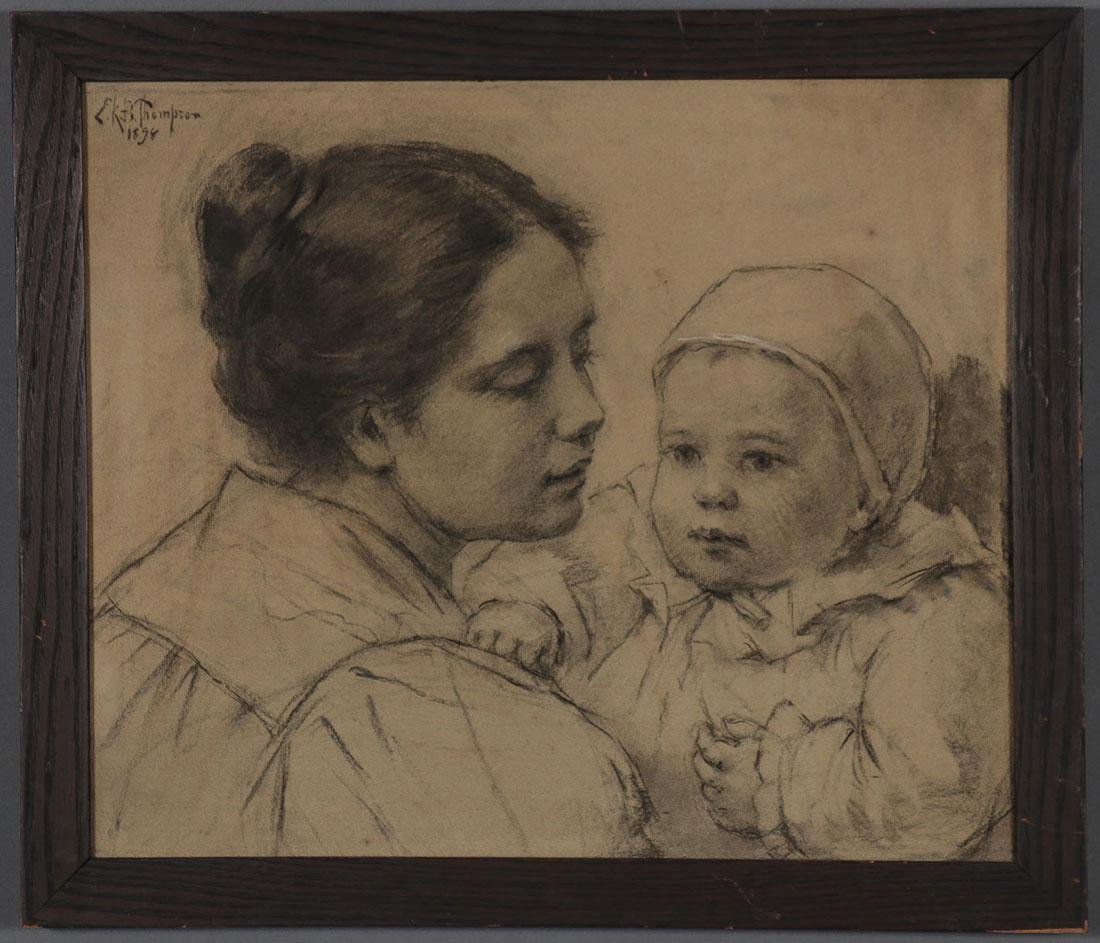 CHARCOAL SKETCH OF MOTHER AND CHILD, SIGNED - 2