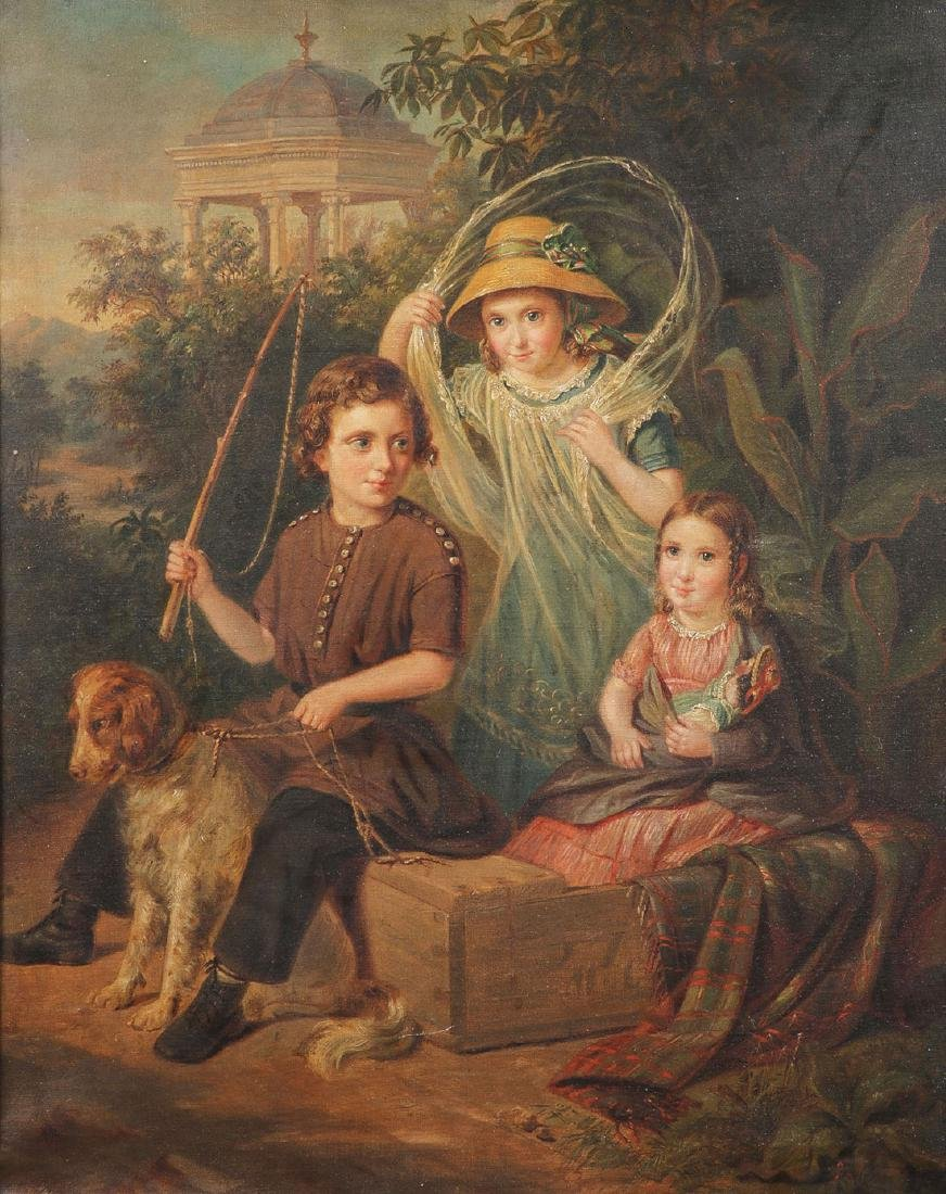 19TH C. OIL ON CANVAS PAINTING OF CHILDREN & DOG