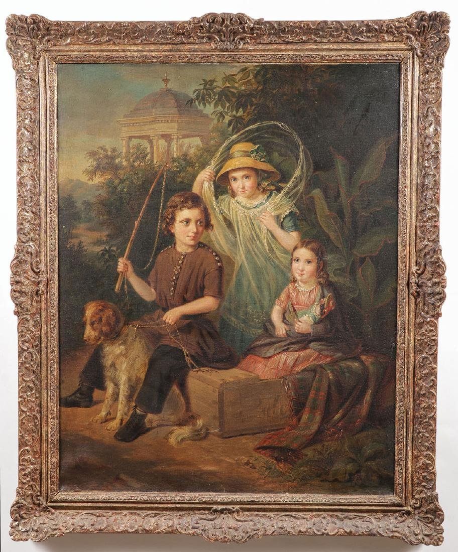 19TH C. OIL ON CANVAS PAINTING OF CHILDREN & DOG - 2