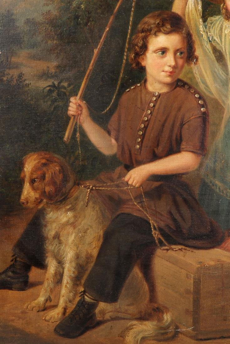 19TH C. OIL ON CANVAS PAINTING OF CHILDREN & DOG - 4