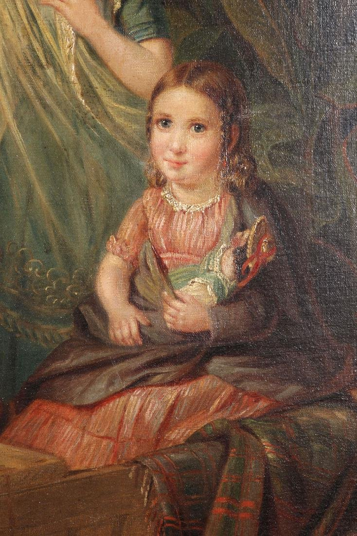 19TH C. OIL ON CANVAS PAINTING OF CHILDREN & DOG - 5