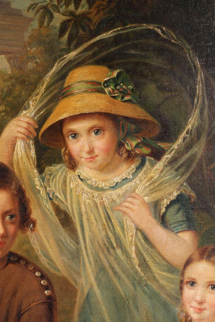 19TH C. OIL ON CANVAS PAINTING OF CHILDREN & DOG - 6