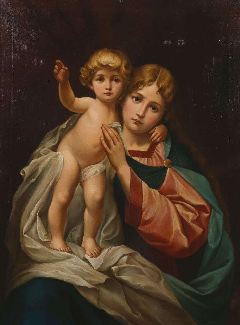 OIL ON CANVAS OF MADONNA & CHILD, C. 1890
