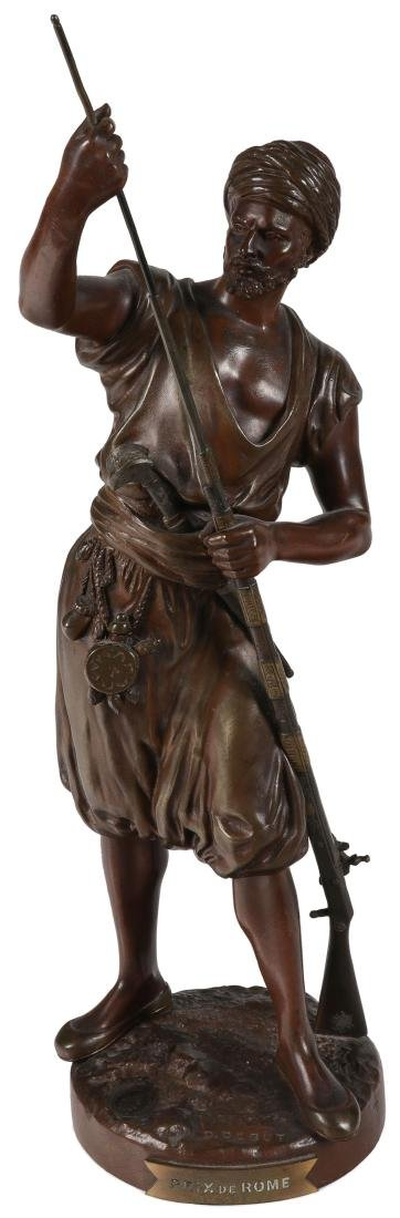 A SIGNED FRENCH BRONZE OF ARAB WARRIOR W GUN