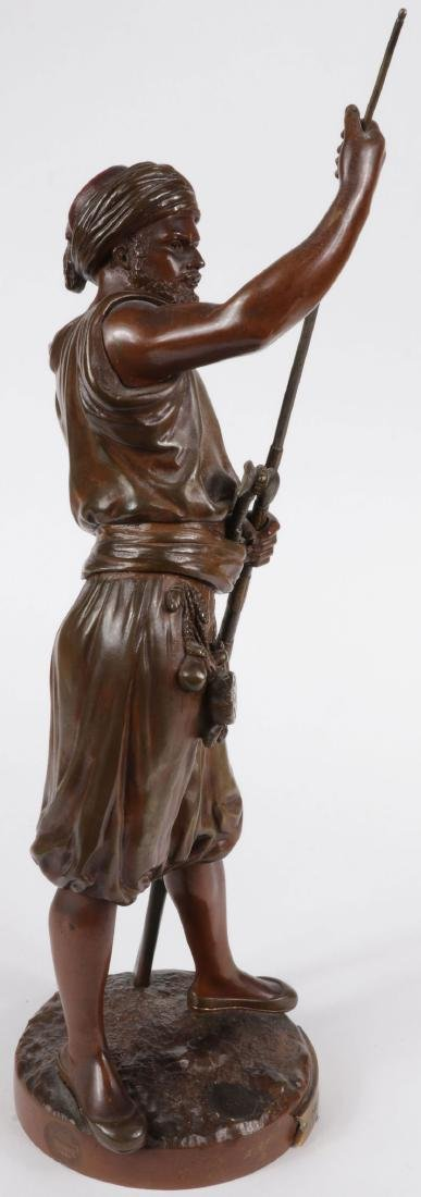 A SIGNED FRENCH BRONZE OF ARAB WARRIOR W GUN - 3