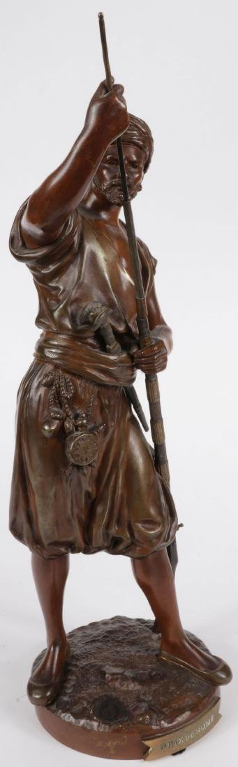 A SIGNED FRENCH BRONZE OF ARAB WARRIOR W GUN - 4