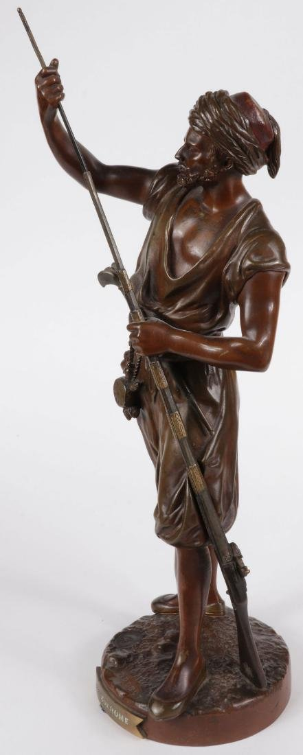 A SIGNED FRENCH BRONZE OF ARAB WARRIOR W GUN - 5