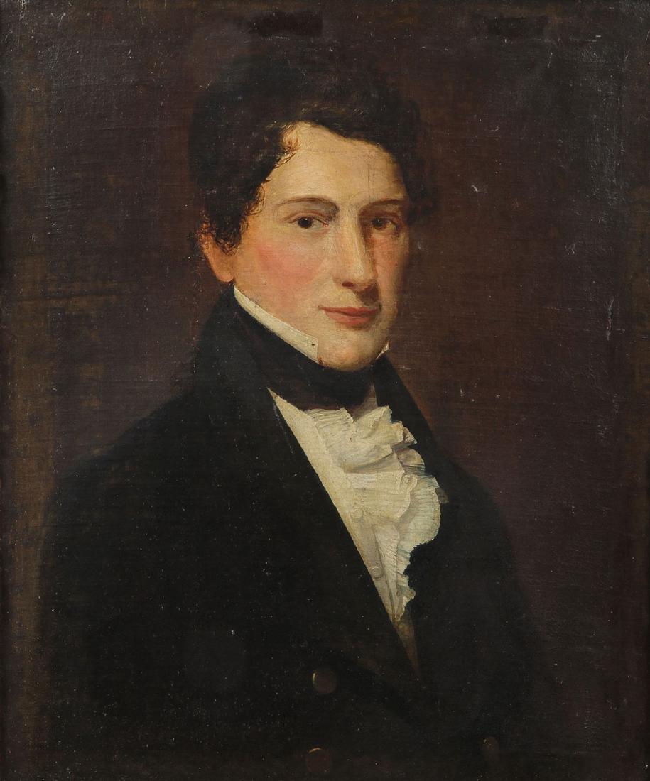 AMERICAN SCHOOL PORTRAIT OF YOUNG MAN, 19TH C.