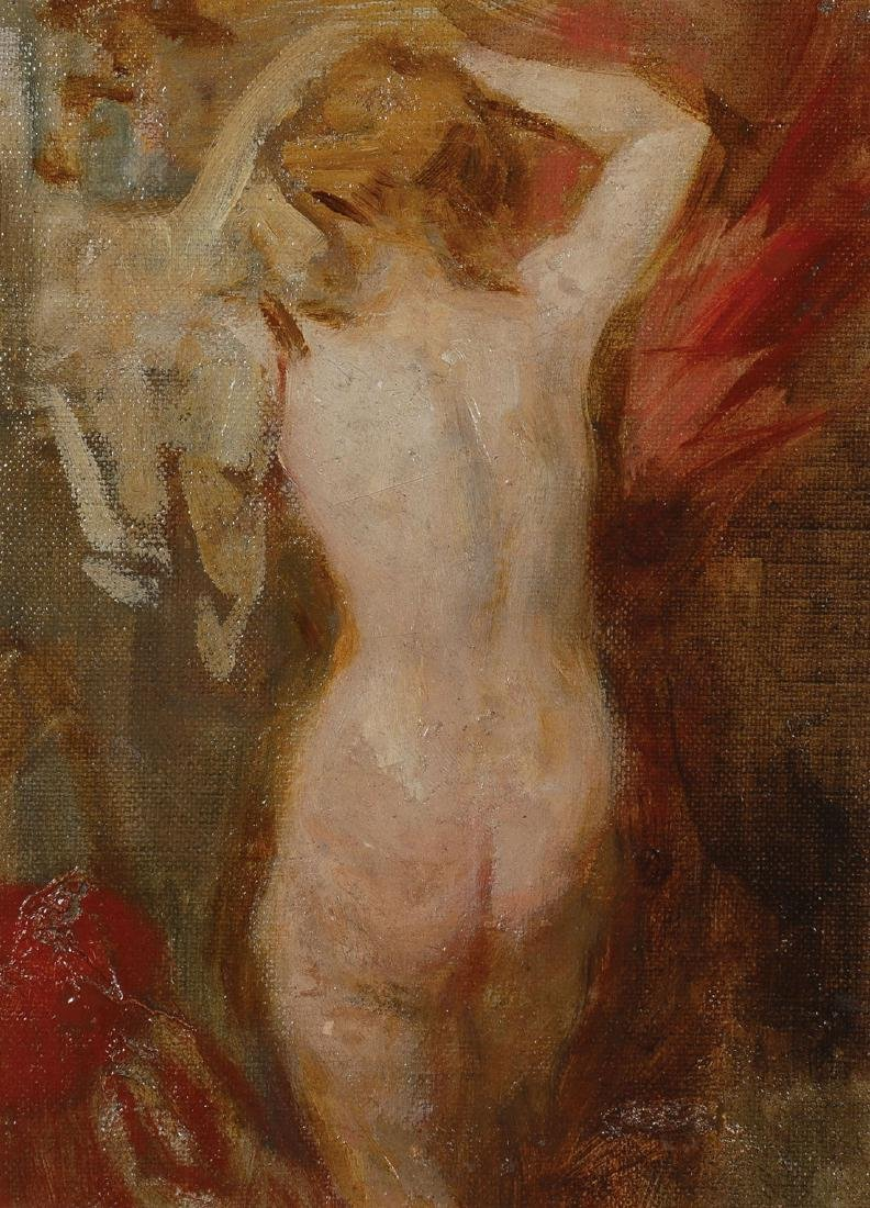 OIL ON CANVAS OF FEMALE NUDE UNDRESSING