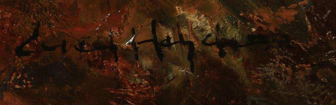 IMPRESSIONISTIC HUNT SCENE, ARTIST SIGNED - 3