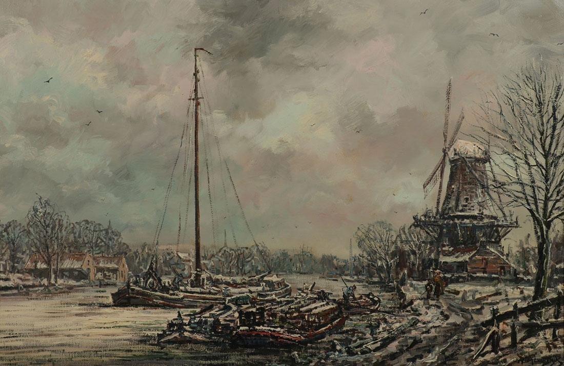 DUTCH WINTER CANAL LANDSCAPE, ARTIST SIGNED