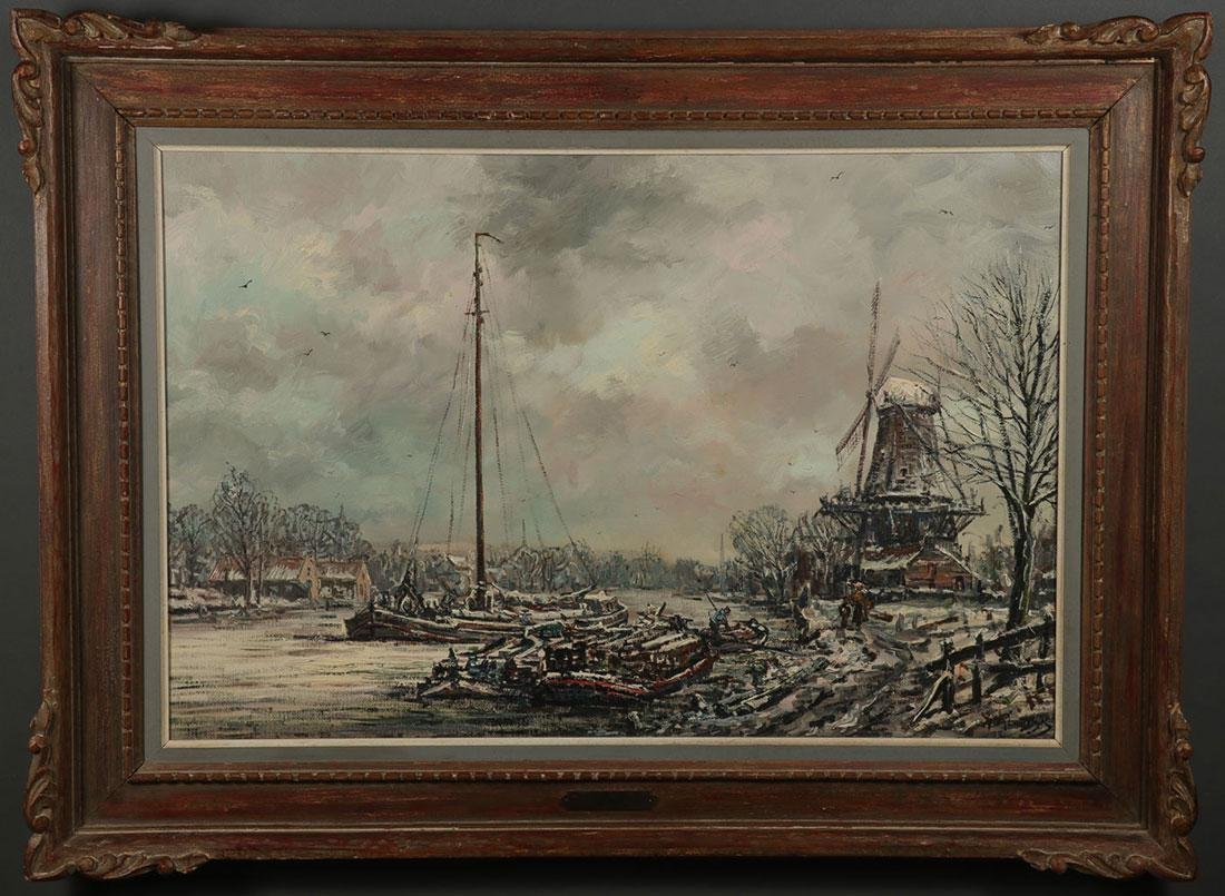 DUTCH WINTER CANAL LANDSCAPE, ARTIST SIGNED - 2