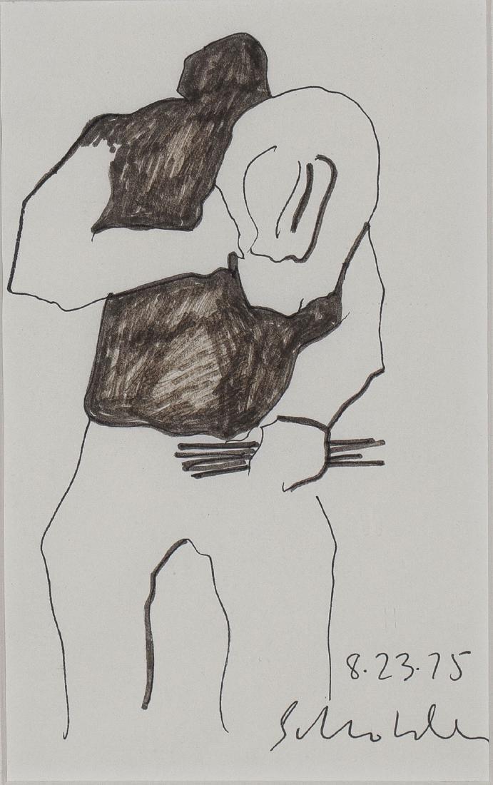 SIGNED FRITZ SCHOLDER PEN & INK SKETCH