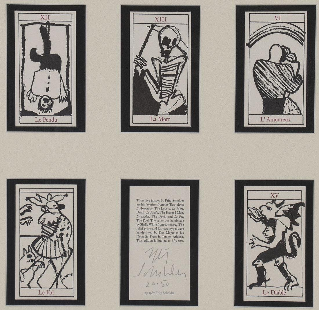 5 TAROT CARDS AND LITHO BY FRITZ SCHOLDER, SIGNED
