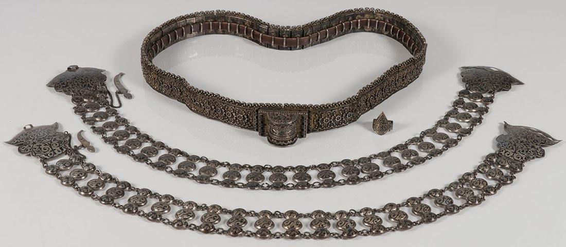 THREE IMPERIAL RUSSIAN PERIOD SILVER BELTS