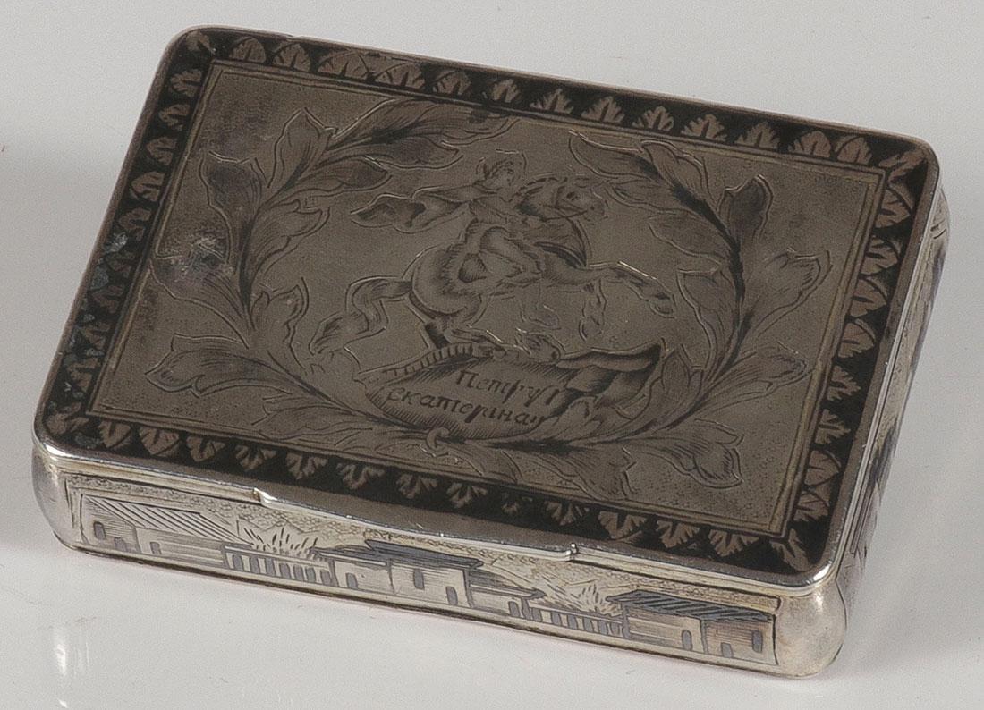 A RUSSIAN SILVER & NIELLO SNUFF BOX, CIRCA 1850