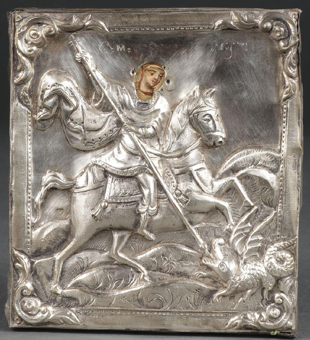 ICON OF ST GEORGE WITH SILVER OKLAD, DATED 1858