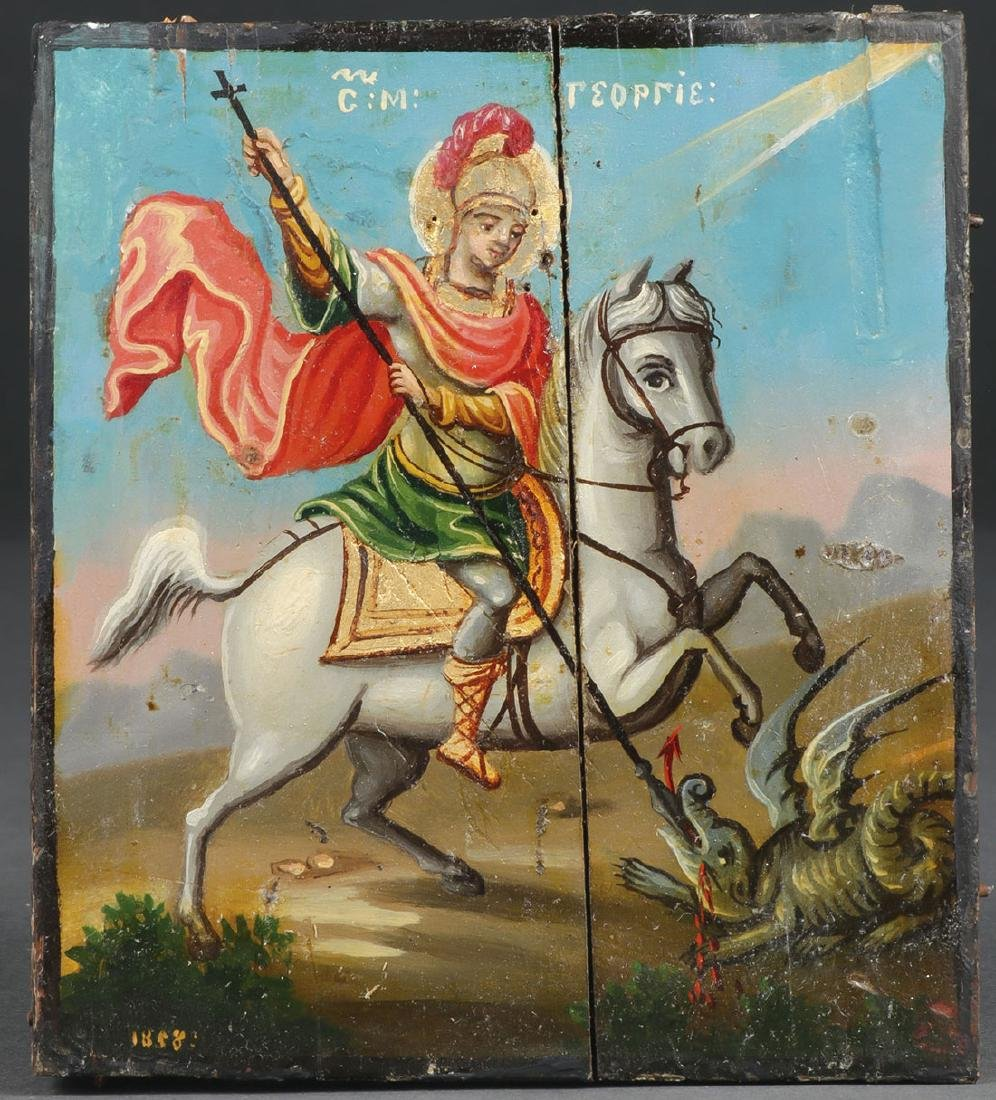 ICON OF ST GEORGE WITH SILVER OKLAD, DATED 1858 - 2