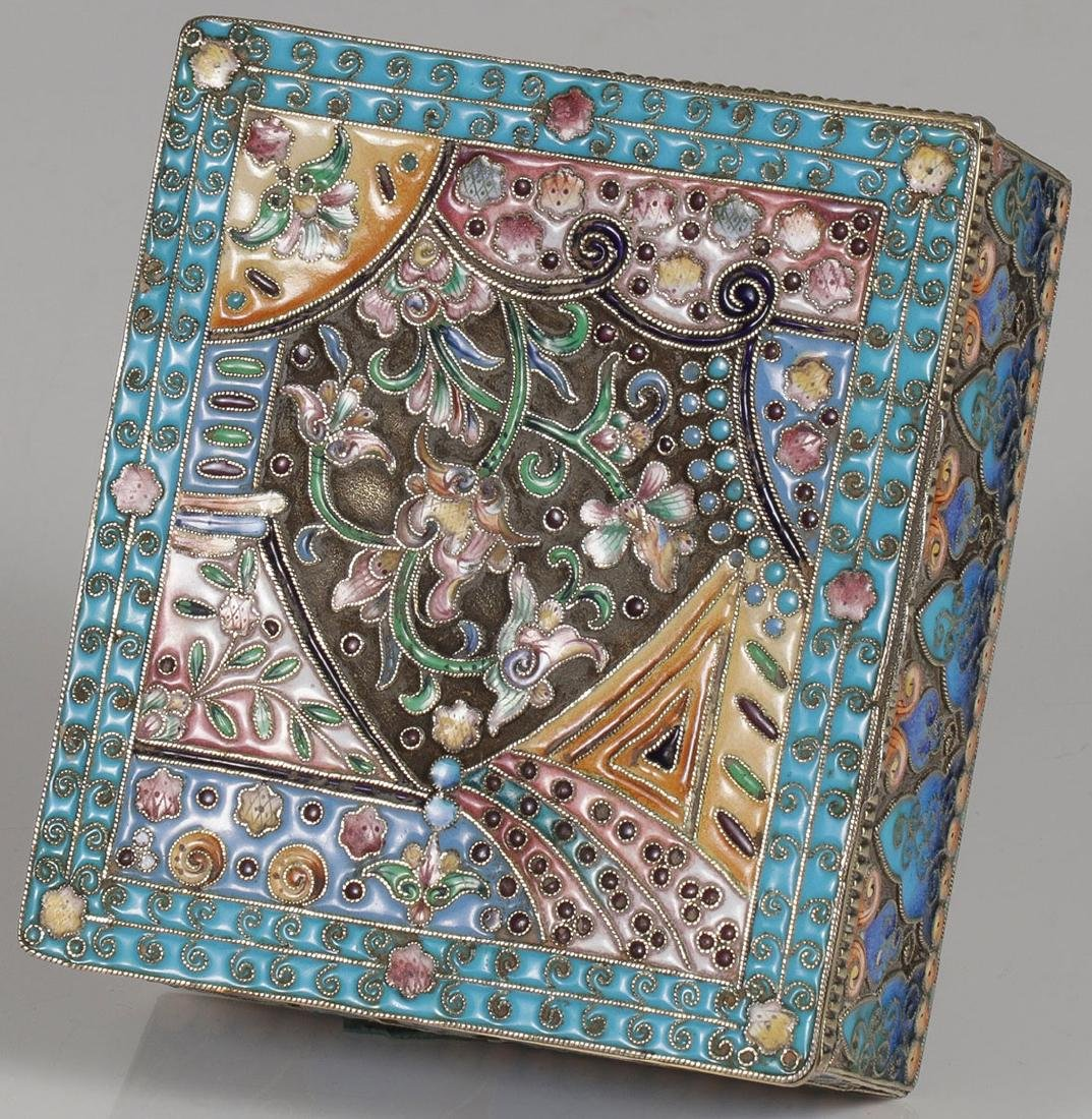 A RUSSIAN SILVER AND SHADED ENAMEL HINGED BOX