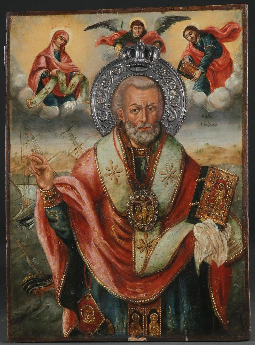 AN INTERESTING ICON OF SAINT NICHOLAS, 18TH C.