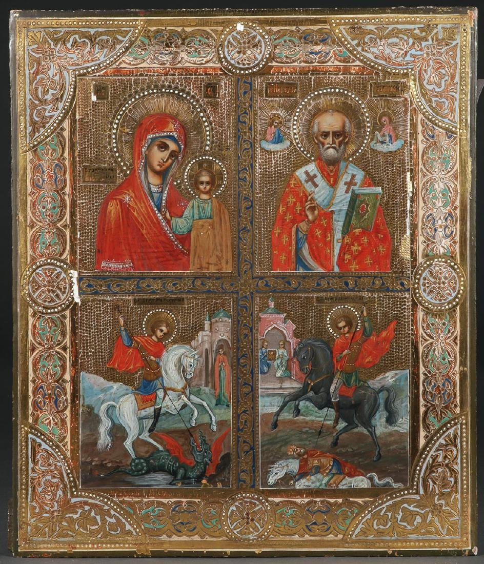 A RUSSIAN ICON IN FOUR PARTS, CIRCA 1890