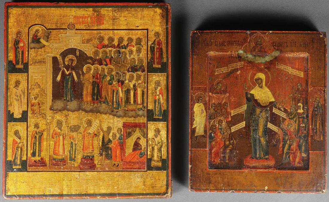 A PAIR OF RUSSIAN ICONS, 19TH CENTURY