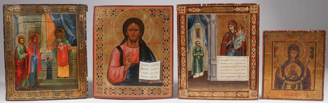 FOUR RUSSIAN ICONS, CIRCA 1890