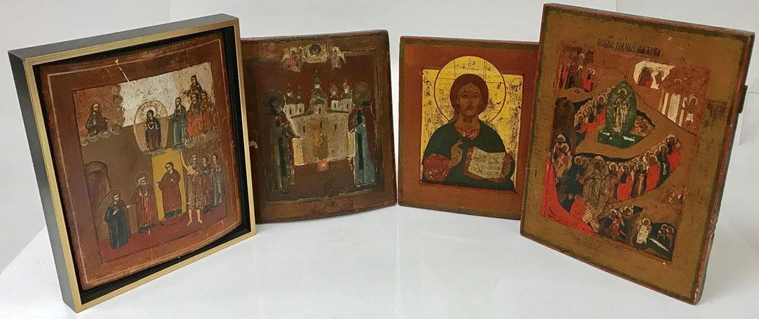 FOUR RUSSIAN ICONS, 19TH CENTURY