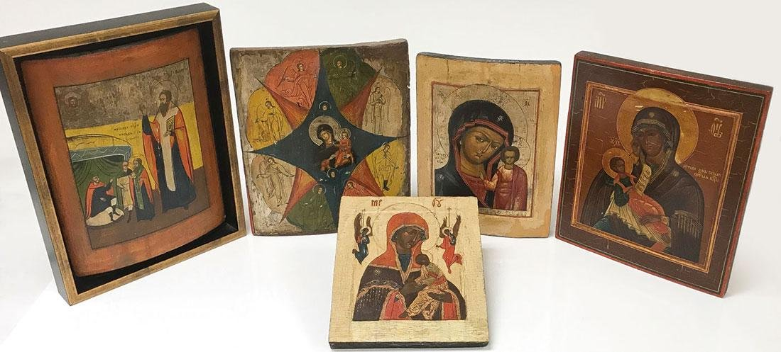 FIVE RUSSIAN ICONS, 19TH CENTURY AND LATER