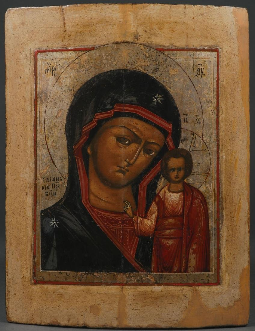 FIVE RUSSIAN ICONS, 19TH CENTURY AND LATER - 4