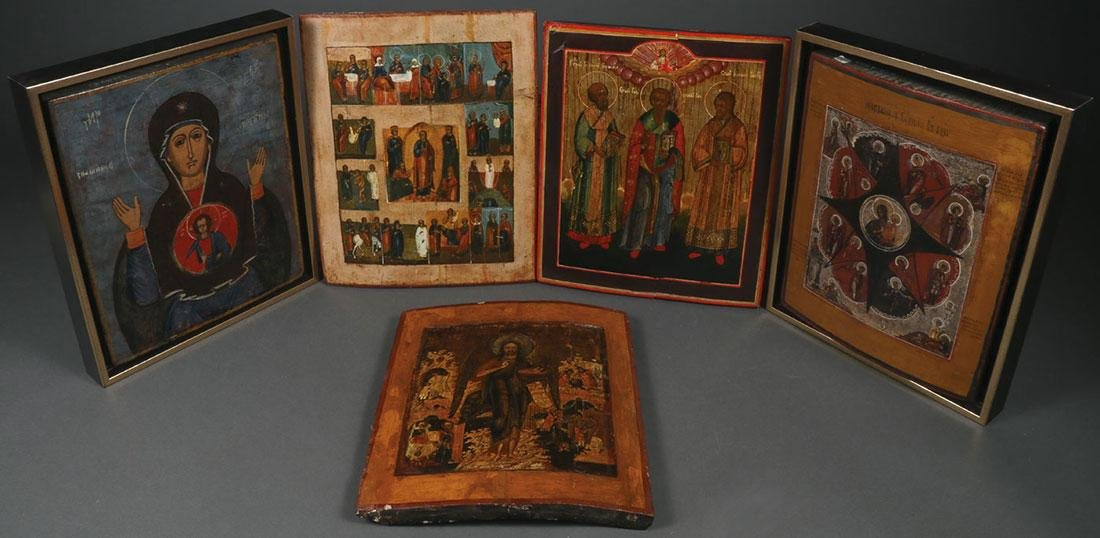 FIVE RUSSIAN ICONS, CIRCA 1800-1890