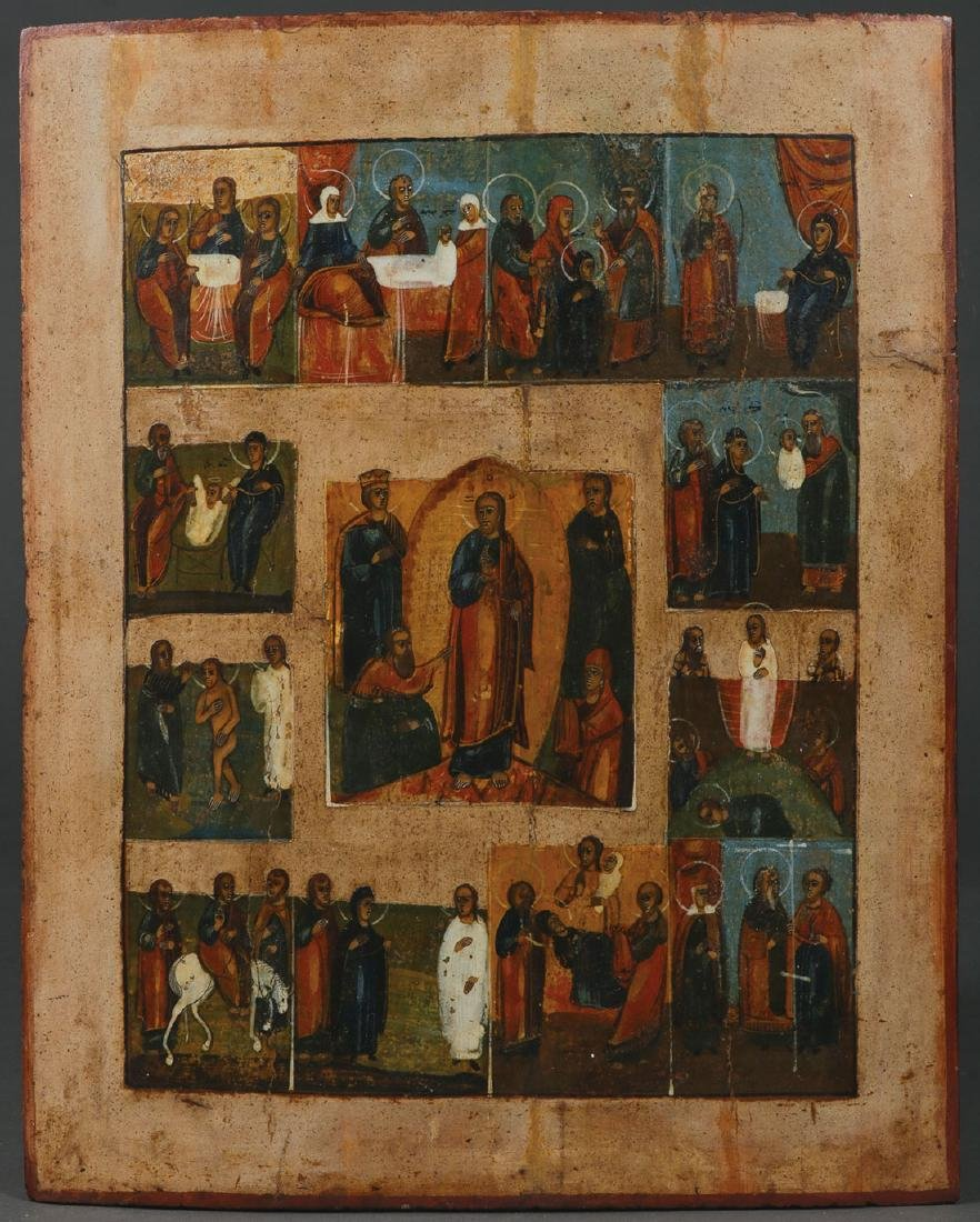 FIVE RUSSIAN ICONS, CIRCA 1800-1890 - 3