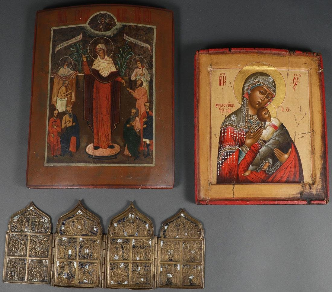 A GROUP OF RUSSIAN ICONS