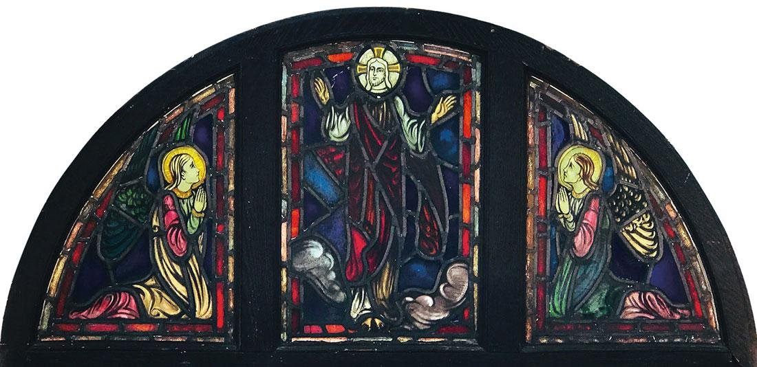 A STAINED AND LEADED WINDOW OF THE RESURRECTION