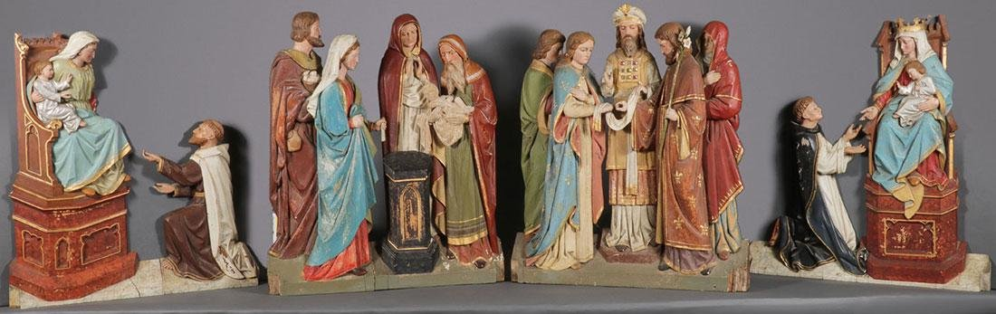 4 CARVED FIGURES FROM THE LIFE OF THE VIRGIN MARY