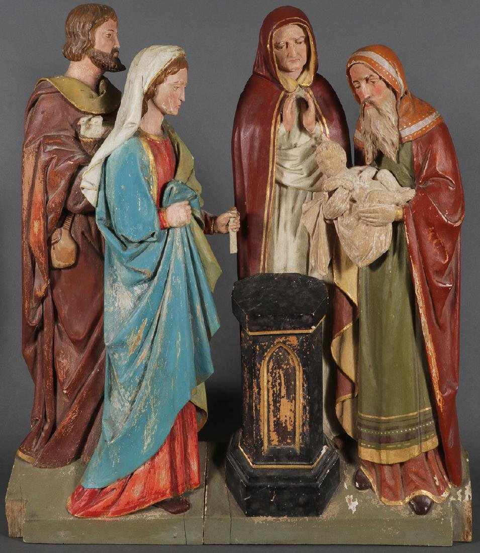 4 CARVED FIGURES FROM THE LIFE OF THE VIRGIN MARY - 2