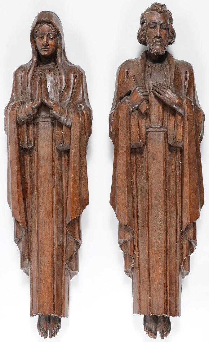 CARVED FIGURES OF THE VIRGIN AND SAINT JOSEPH