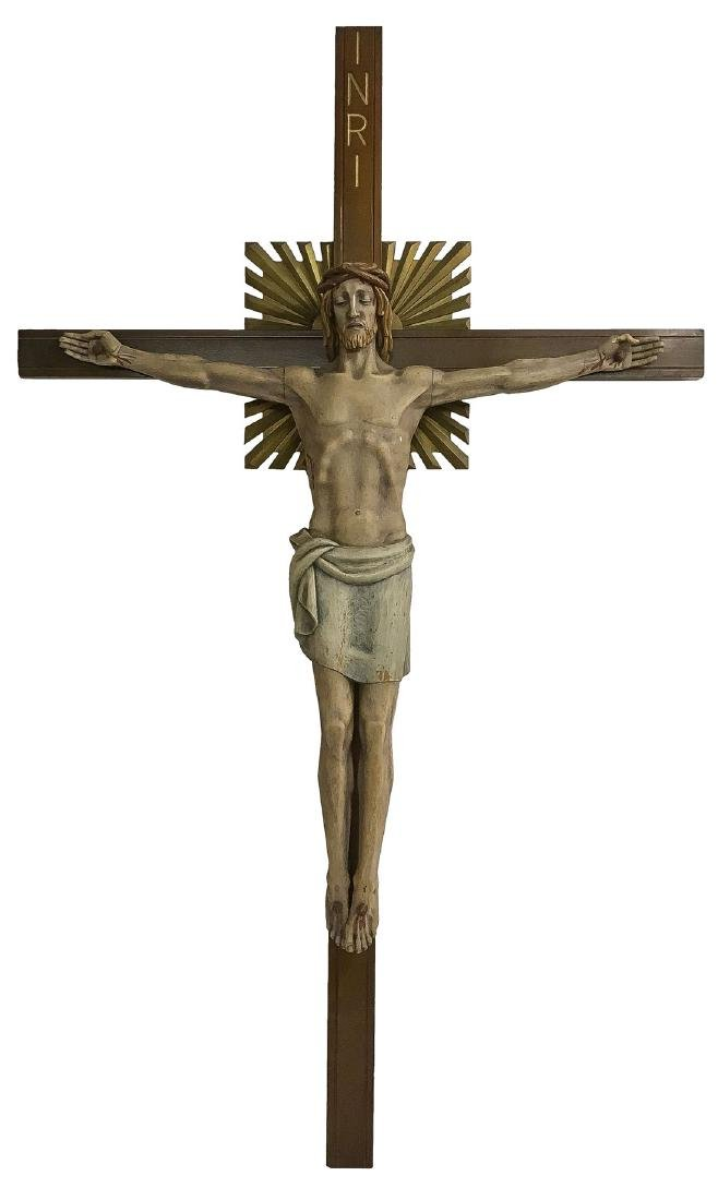 A LARGE CARVED WOOD CRUCIFIX
