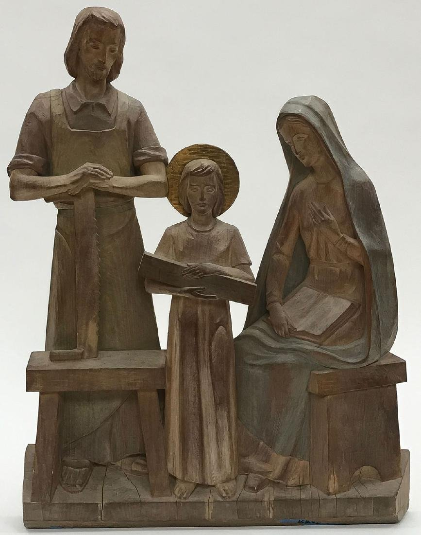 FINE CARVED WOOD GROUP OF THE HOLY FAMILY