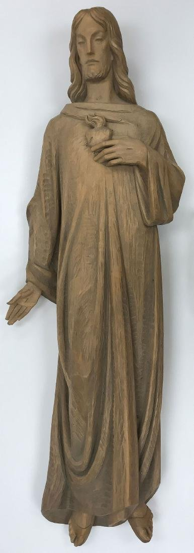 LARGE BEAUTIFUL CARVED WOOD FIGURE OF CHRIST