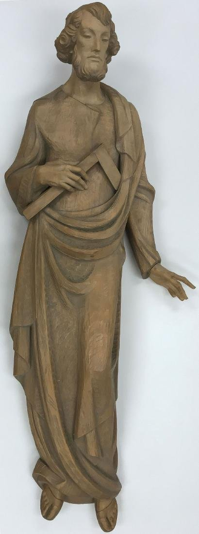 A LARGE CARVED WOOD FIGURE OF SAINT JOSEPH