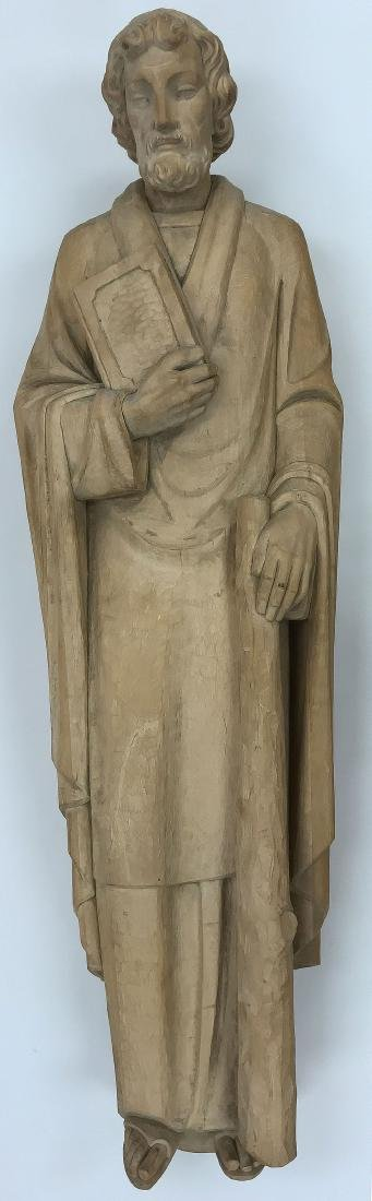 A LARGE CARVED WOOD FIGURE OF SAINT JUDE