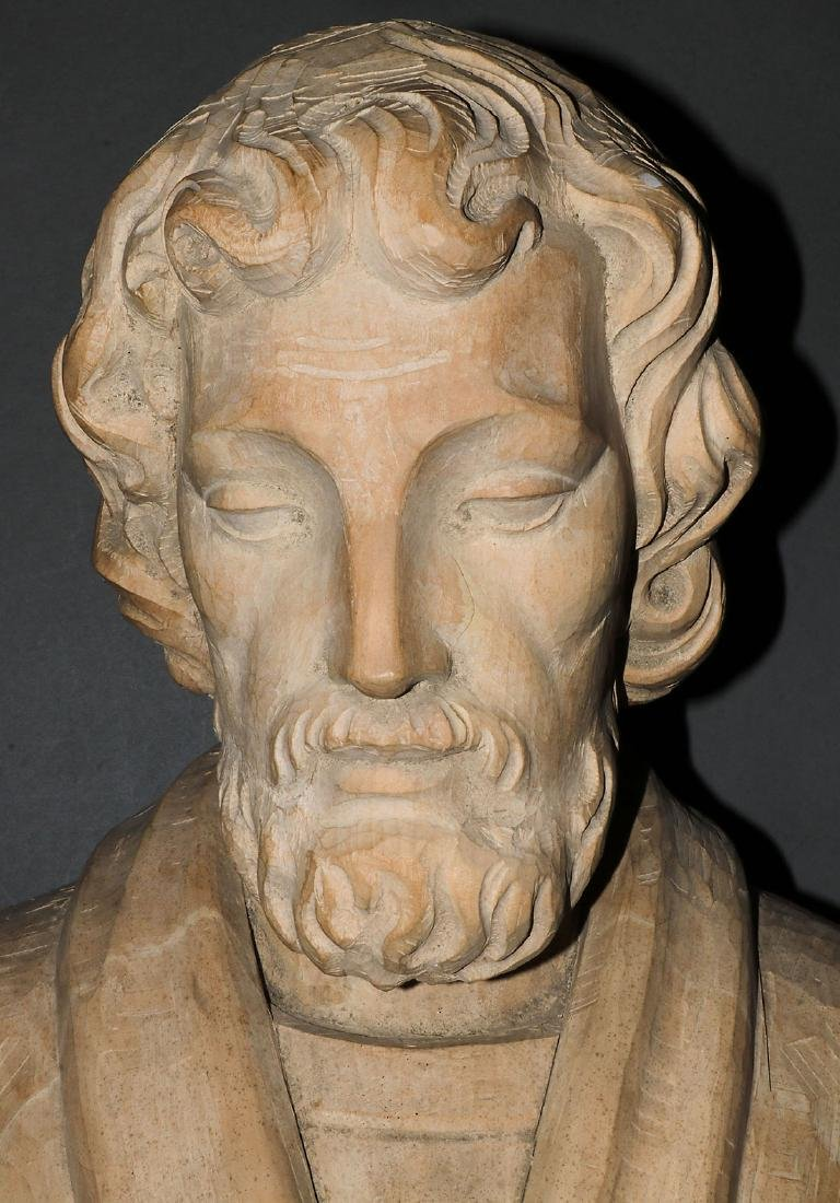 A LARGE CARVED WOOD FIGURE OF SAINT JUDE - 2