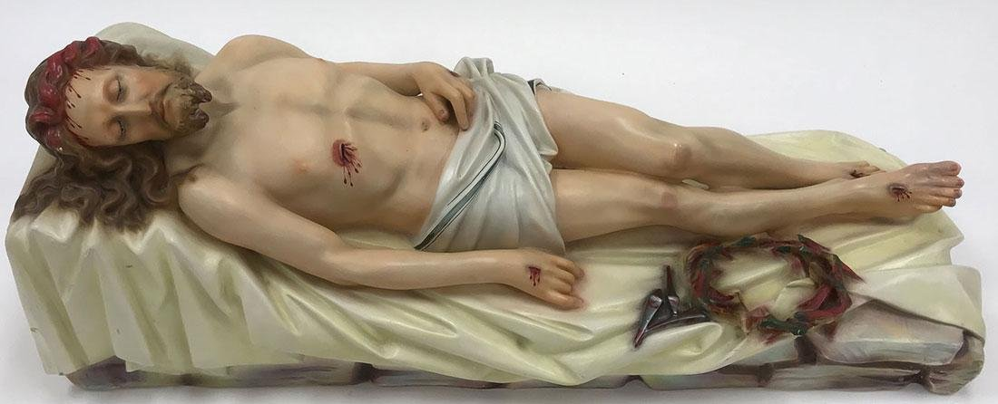 A POLYCHROME FIGURE OF THE CRUCIFIED CHRIST