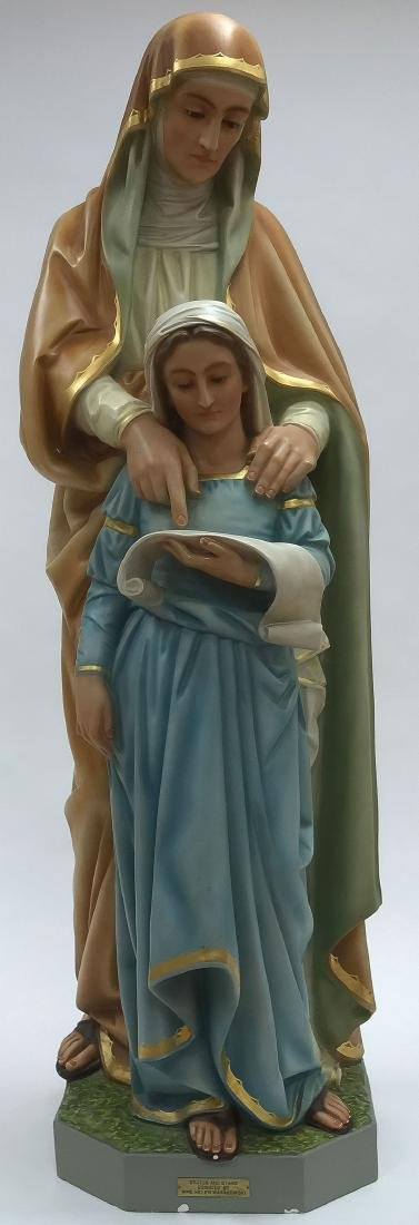 A POLYCHROME FIGURE OF SAINT ANNE AND THE VIRGIN